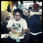 Jay taking on the Burritozilla challenge at Iguanas, Union City