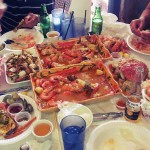 4lbs shrimp, 2lbs king crab legs, 2 whole crabs, Banh Canh Cua, and sweet potato fries. Family luncherton at Mr. Krab's, SJ