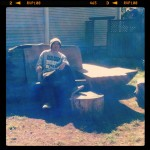 chillin on Paul Bunyan's bench in Point Reyes Station
